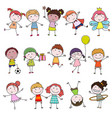 Set of cute happy cartoon doodle kids hand-drawn vector