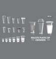 set realistic colorful cup containers vector image vector image
