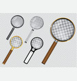 set realistic magnifying glass or magnifying vector image