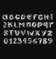 small chalk alphabetical set white on dark vector image vector image
