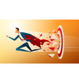 super businessman running and breaking target vector image vector image