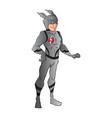 superhero in blue costume vector image vector image