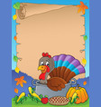 turkey bird in pan theme parchment 1 vector image vector image