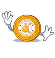 waving bitconnect coin character cartoon vector image vector image