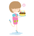 Happy Girl With Delicious Cake vector image