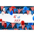 4th july banner with balloons vector image