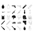 army and armament blackoutline icons in set vector image vector image