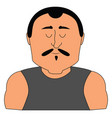 big man with mustache on white background vector image