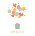 birthday greeting card with gift box and balloons vector image vector image