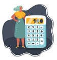 business woman standing near big calculator vector image