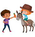 children and donkey character vector image vector image