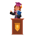 college graduation flat colorful poster with happy vector image vector image