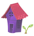 compact fabulous purple house with pink roof vector image vector image