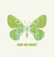 eco poster concept with butterfly save forest vector image vector image