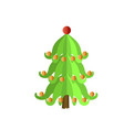 festive xmas tree icon flat style vector image vector image
