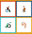 flat icon disabled set of audiology wheelchair vector image vector image