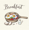 fried eggs with bacon and tomatoes vector image