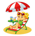 girl sunbathing and relaxing on the beach vector image vector image