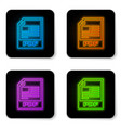 glowing neon pdf file document icon download pdf vector image vector image
