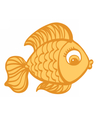 Goldfish cartoon hand drawn vector image