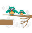 greeting card with cute owls over branch vector image vector image