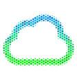 halftone blue-green cloud icon vector image vector image