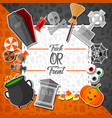 halloween flat halloween icons with square frame vector image vector image