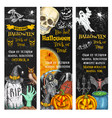 halloween pumpkin ghost skull chalkboard banner vector image vector image