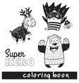 Hand drawn outline cartoon animals in superheroes