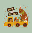happy cartoon animals going to school car vector image vector image