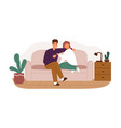happy couple smiling and talking sitting on couch vector image