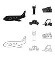 isolated object airport and airplane icon set vector image vector image