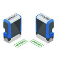isometric stamp approved set approved green ink vector image