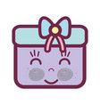 kawaii happy and cute gift design vector image vector image