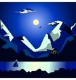 Landscape of the sea at night idyllic vector image vector image