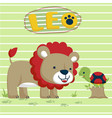 lion and turtle cartoon vector image
