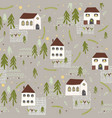 little village church house n trees pattern vector image