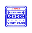 london city visa stamp on passport vector image vector image