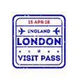 london city visa stamp on passport vector image