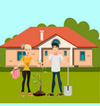 man and girl plant tree in courtyard vector image vector image