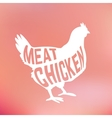 meat chicken silhouette with text inside on blur vector image vector image