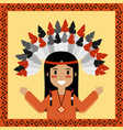 native american indian character portrait vector image vector image