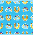 pattern horse shoe and rainbow with white clouds vector image