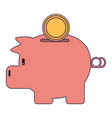 piggy with coin symbol vector image vector image
