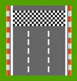 race finish top view road with finish line vector image