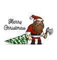 santa claus a lumberjack cut a christmas tree vector image vector image