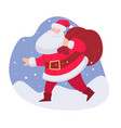 santa claus carrying presents in bag for kids vector image vector image