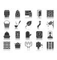 sauna equipment black silhouette icons set vector image vector image
