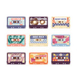 set compact analog audio cassette from 80s 90s vector image