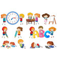 set doodle kids activity vector image vector image